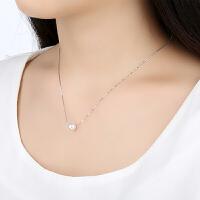 欧丁925纯银珍珠项链锁骨链女韩国简约单颗珍珠吊坠项链饰品短款银链T