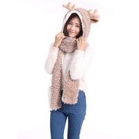 女秋冬亲子款儿童成人毛绒三件套 保暖帽子围巾手套三件一体套