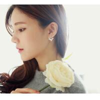 欧丁韩国925纯银耳饰甜美花朵后挂式耳钉气质女款H014