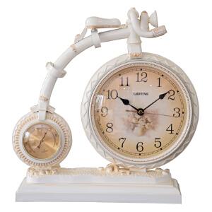 丽盛台钟欧式静音座钟客厅装饰挂钟田园摆钟创意卧室办公室座钟 S1401S