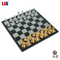 正品UB/友邦 中号/大号金银立体象棋子折叠带磁性象棋套装,便携式折叠磁性象棋,磁性棋子,棋盘材料HIPS抗冲塑料环保材料,