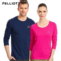 法国PELLIOT/伯希和 户外运动T恤 男女圆领长袖透气跑步情侣t恤