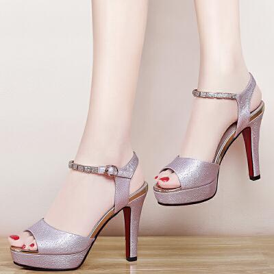 盾狐 鱼嘴凉鞋女性感高跟鞋细跟2017新款韩版潮百搭一字扣简约单鞋5991