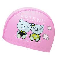 男童女童布泳帽  儿童可爱卡通印花游泳帽  男女通用
