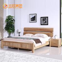 北欧篱笆榆木双人床 全实木床1.8米婚床中式简约现代卧室家具