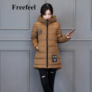 Freefeel2017秋冬新款羽绒棉服女装中长款上衣韩版休闲贴布保暖外套