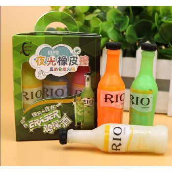 韩版荧光酒瓶橡皮擦 韩版可爱夜光rio鸡尾酒红酒瓶卡通造型橡皮擦