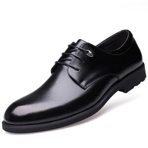 格罗堡春季新款男士商务休闲鞋英伦潮流系带正装休闲皮鞋子