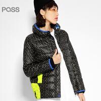 PASS原创潮牌冬装 枕头领保暖蓄热短款长袖宽松羽绒服女6540942023
