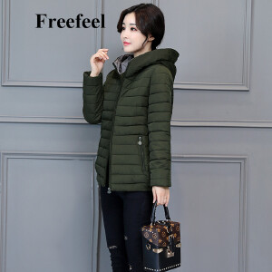 Freefeel2017秋冬新款羽绒棉服女时尚休闲大码女装连帽上衣