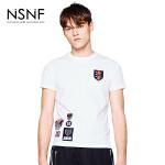 NSNF纯棉徽章白色短袖T恤 2017年春夏新款