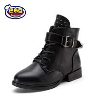 【冬季清仓】巴布豆童鞋靴子女童冬季马丁靴短靴子2017新款低筒短靴女童靴BW8530132