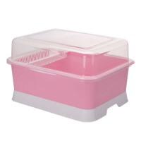 置物架 厨房碗柜  大号带盖装碗筷收纳盒   塑料碗架沥水架  放碗盘餐具