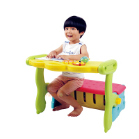 麦宝创玩 贝氏多功能三合一 折叠儿童学习桌饭桌储物箱PP料 幼儿园游戏桌 多用途学习储物椅