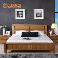 北欧篱笆 纯榆木双人床全实木床1.8米大床婚庆卧室家具简约现代实木床