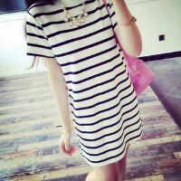 夏装条纹宽松大码韩版横条纹侧开叉短袖连衣裙