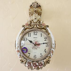 丽盛壁钟欧式双面挂钟表双面表客厅卧室现代挂表复古田园石英钟表 B8123NY