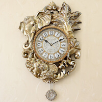 丽盛挂钟创意时尚静音摆钟欧式田园仿古客厅石英钟表个性时钟挂表 WH241