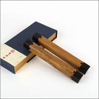 紫林轩  天然文房四宝镇尺压纸红木书法镇纸金丝楠木嵌紫光檀对镇 0.88kg