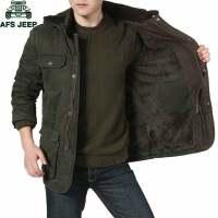 AFS JEEP男士棉衣加绒加厚中长款冬季棉袄子吉普棉服外套369