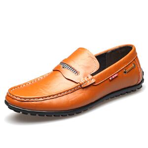 格罗堡春季新款真皮休闲皮鞋男士透气豆豆鞋一脚蹬懒人潮鞋韩版潮流牛皮男鞋子