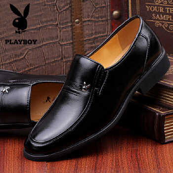 花花公子男鞋新款商务休闲皮鞋 男士皮鞋正装英伦系带头层牛皮婚鞋 8117