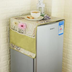 乐唯仕简约田园布艺冰箱盖巾套单开门双开门对开门冰箱罩防尘冰箱盖布多用巾