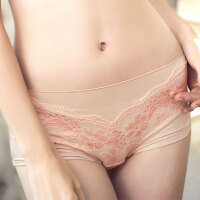 大码内裤女士中腰性感蕾丝面料莫代尔三角裤胖mm舒适无痕三角裤