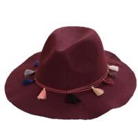 女秋冬天韩版黑色英伦爵士帽  礼帽  遮阳毛毡帽  流苏毛呢帽子