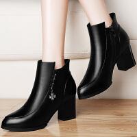 古奇天伦 短靴女秋冬季新款女鞋 时尚粗跟性感高跟靴保暖踝靴及裸靴结婚鞋工作鞋 瑞 GQ8502