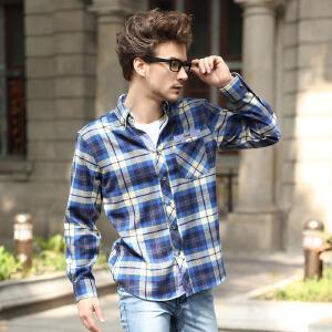 春秋男装长袖衬衫 英伦格调男式基本磨毛衬衫 克里特蓝绿红格