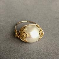 韩国原创设计天然珍珠戒指女14k金指环食指关节简约大气饰品