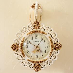 丽盛创意欧式挂钟静音现代田园钟表艺术石英钟仿古客厅时钟挂表 AB8206