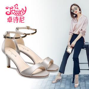 卓诗尼2017夏季新款高跟细跟凉鞋休闲露趾一字扣带女鞋124717902
