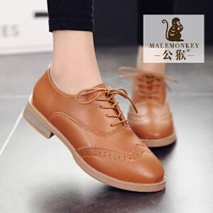 公猴春季新款小皮鞋女英伦风平底女鞋真皮休闲皮鞋百搭复古学生单鞋女