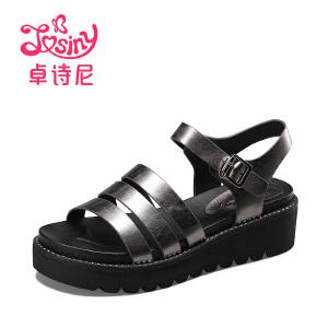 卓诗尼2017夏季新款中性坡跟凉鞋露趾中跟一字扣带女鞋114711752