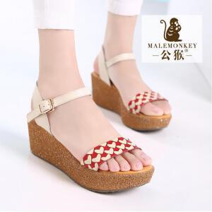 公猴夏季新款坡跟凉鞋女真皮厚底女凉鞋甜美心形松糕时尚凉鞋420