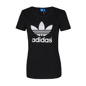 ADIDAS阿迪达斯女装 2017新款三叶草运动休闲短袖T恤 AJ8084/BR8054