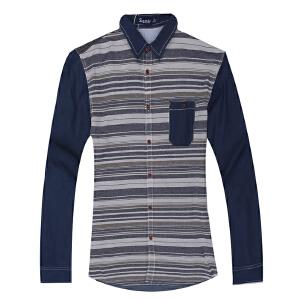 春秋休闲纯棉polo衫 格子衬衣修身大码薄款上衣 男装青年男士长袖衬衫