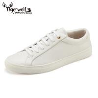 Tigerwolf虎狼公社真皮休闲男板鞋厚底皮鞋 韩版时尚运动小白鞋男