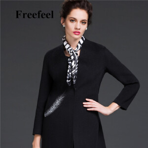 Freefeel2017新款春装羊绒大衣欧美风中长款时尚女装毛呢外套1802
