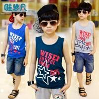 唯思凡童装男童夏装2016新款上衣儿童夏季背心中大童无袖T恤