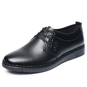 格罗堡春季新款时尚休闲鞋男士日常低帮系带英伦百搭商务休闲皮鞋