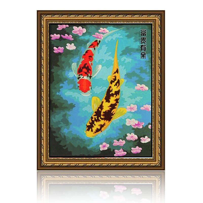 舞动色彩 富贵有余 diy数字油画风景彩绘装饰画 w0231