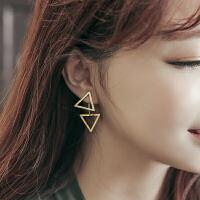欧丁韩国925纯银耳钉女气质夸张大耳环三角型镂空后挂式耳饰个性欧美H033