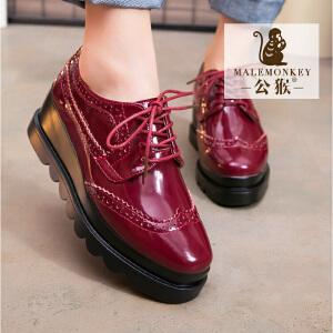 公猴新款松糕鞋女方头系带厚底鞋英伦风平底单鞋女布洛克