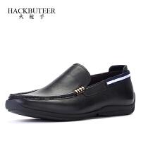 火枪手日常休闲鞋男时尚帆船鞋套脚软面休闲皮鞋懒人舒适驾车男鞋