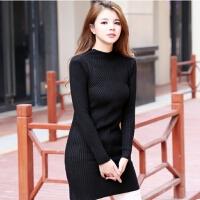 秋冬新款半高领针织打底衫 纯色宽松中长款甜美宽松毛衣女