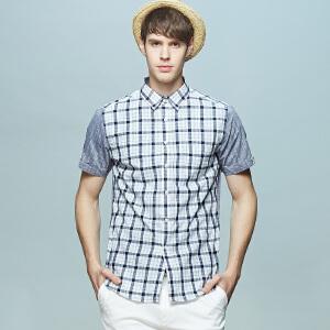 男式亚麻拼接款男式短袖衬衫 清爽浅灰白格纹