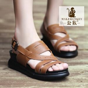 公猴夏季新品松糕女凉鞋真皮坡跟凉鞋女学生休闲凉鞋厚底英伦
